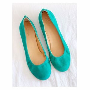 J Crew Suede Green Teal Ballet Flats size 9 NEW
